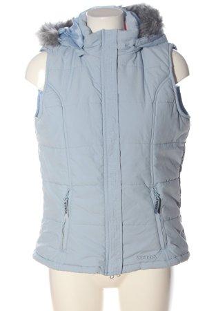 Steeds Gilet à capuche bleu motif de courtepointe style décontracté