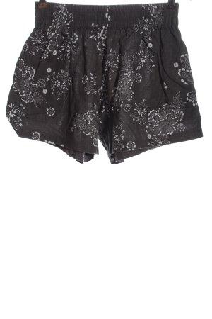 steele High-Waist-Shorts schwarz-weiß Blumenmuster Casual-Look