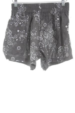 steele High-Waist-Shorts grau-weiß Blumenmuster