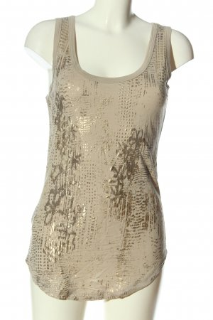 Stefanel Basic topje wolwit-goud abstract patroon casual uitstraling