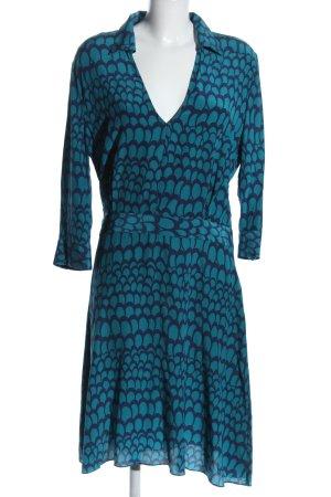 Stefanel Blusenkleid blau Allover-Druck Casual-Look