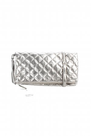 Stefanel Clutch silberfarben Steppmuster Party-Look