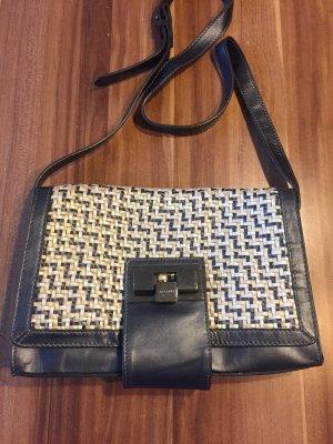 Stefanel Echt Leder Umhänge Tasche Flecht Design große Schnalle blau metallic