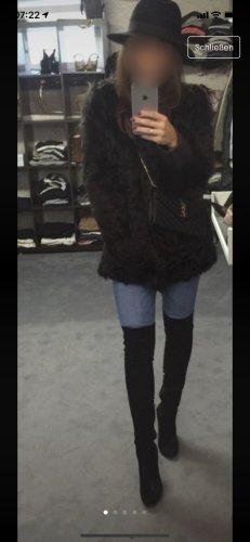 Stefanel Abrigo de cuero marrón oscuro