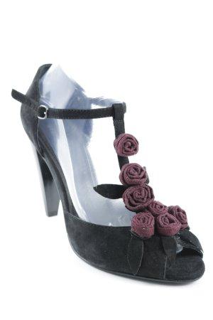 Stefanel High Heel Sandaletten schwarz-brombeerrot Elegant