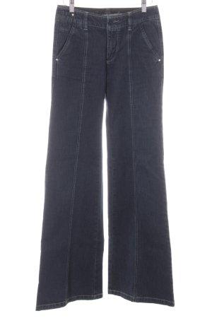 Stefanel Jeans Jeansy o kroju boot cut ciemnoniebieski Logo wykonane ze skóry
