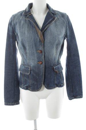 Stefanel Jeans Spijkerblazer blauw-wolwit retro uitstraling