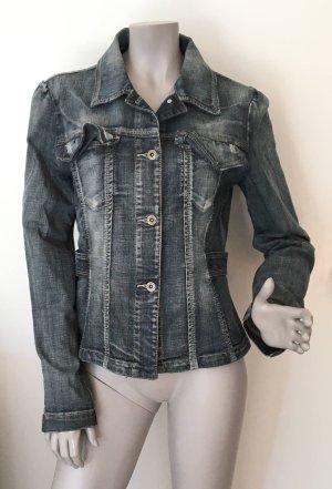 Stefanel Blazer en jean bleu-gris ardoise coton