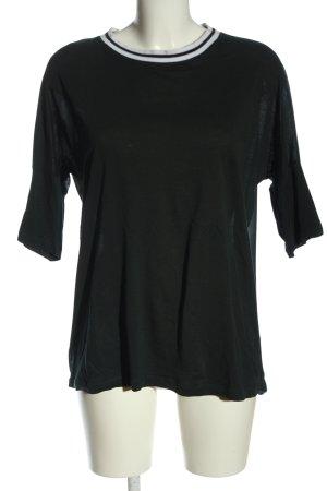 Stefanel Kurzarm-Bluse schwarz-weiß Streifenmuster Casual-Look