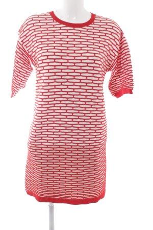 Stefanel Kurzarmkleid rot-wollweiß abstraktes Muster Casual-Look