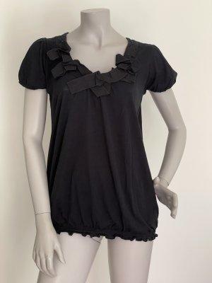 Stefanel lässiges Shirt mit besonderem Ausschnitt Supima Baumwolle schwarz Gr. M