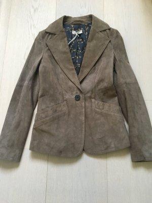 Stefanel Leather Blazer brown-grey brown leather