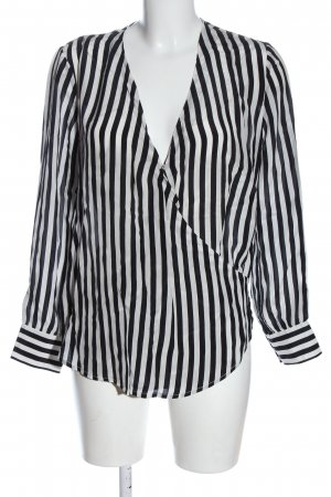 Stefanel Langarm-Bluse schwarz-weiß Streifenmuster Casual-Look
