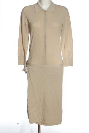 Stefanel Vestido de manga larga crema look casual