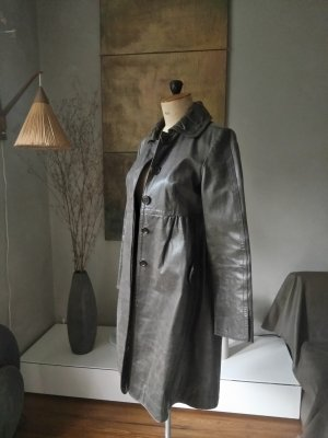 Stefanel Manteau en cuir taupe-gris brun