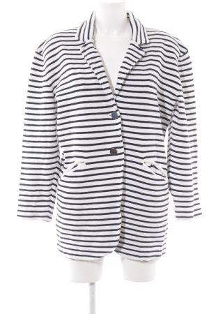 Stefanel Long-Blazer weiß-dunkelblau Streifenmuster Casual-Look