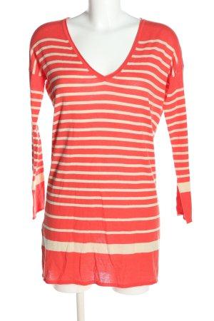 Stefanel Lange jumper rood-wit gestreept patroon casual uitstraling
