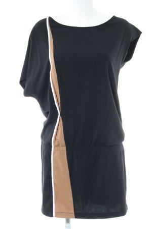 Stefanel Longshirt schwarz-nude Streifenmuster Casual-Look
