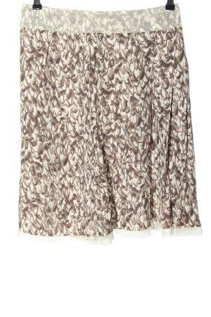 Stefanel Minifalda blanco puro-marrón estampado con diseño abstracto