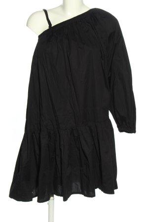 Stefanel Vestido de un hombro negro look casual