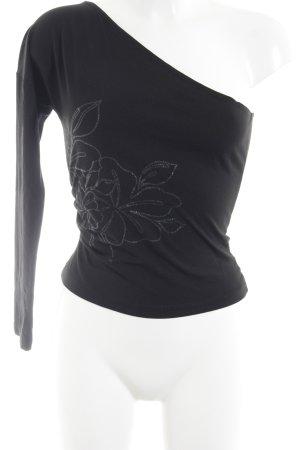 Stefanel Top asymétrique noir motif de fleur style simple
