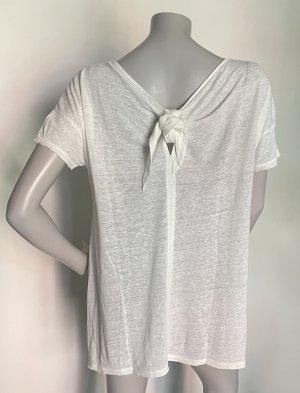 Stefanel oversize Shirt Leinen off-white mit Schleifendetail Gr. M