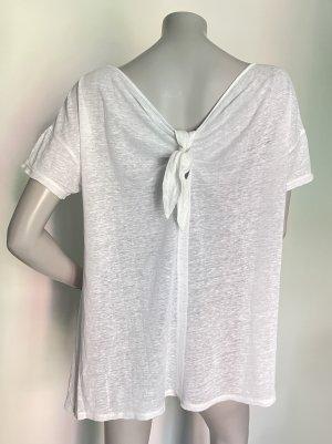 Stefanel oversize Shirt Leinen weiß mit Schleifendetail Gr. M
