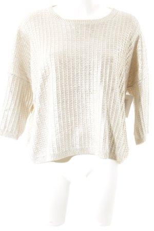 Stefanel Oversized Pullover creme-silberfarben Webmuster Glitzer-Optik