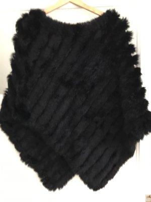 Stefanel Poncho aus echtem Kaninchenfell, schwarz, one size