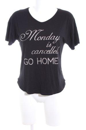 Stefanel Print-Shirt schwarz-silberfarben Schriftzug gedruckt Casual-Look