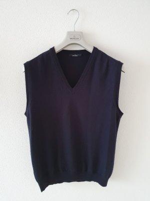 Stefanel Sweter bez rękawów z cienkiej dzianiny ciemnoniebieski