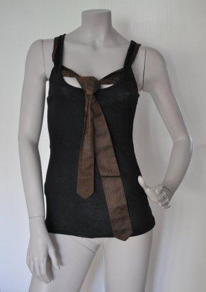 Stefanel Ripp Top mit Krawatte Baumwolle Polyester schwarz braun Gr. M WIE NEU