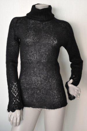 Stefanel Rollkragen Pullover Rolli schwarz leicht transparent Gr. M QUASI WIE NEU