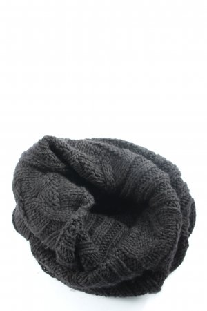 Stefanel Tube Scarf black cable stitch casual look