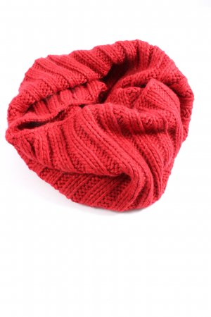 Stefanel Tube Scarf red cable stitch casual look