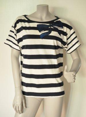 Stefanel Shirt Blockstreifen blau weiß mit Pailletten-Schleife Baumwolle Gr. M