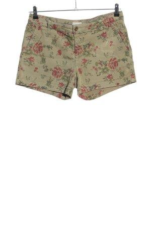Stefanel Shorts khaki-rot Blumenmuster Casual-Look