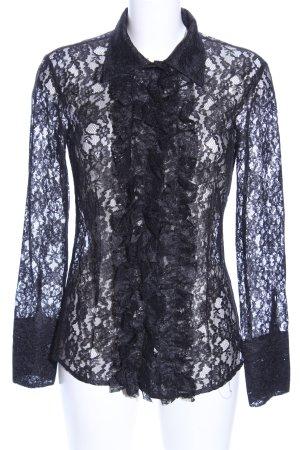 Stefanel Blusa de encaje negro elegante