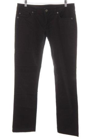 Stefanel Straight-Leg Jeans schwarz Metallknöpfe