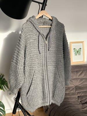 Stefanel Veste tricotée en grosses mailles gris clair-gris laine alpaga
