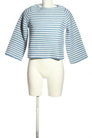 Stefanel Strickpullover blau-weiß Streifenmuster Casual-Look