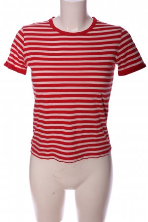 Stefanel T-Shirt rot-wollweiß Streifenmuster Casual-Look