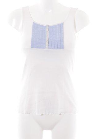 Stefanel Tanktop wit-azuur casual uitstraling