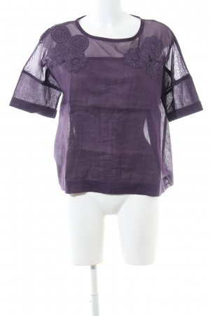 Stefanel Transparenz-Bluse lila Business-Look