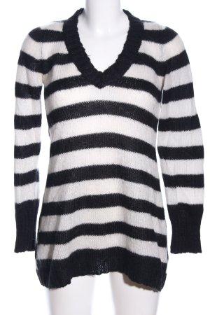 Stefanel V-Ausschnitt-Pullover wollweiß-schwarz Streifenmuster Casual-Look
