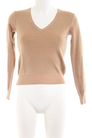 Stefanel V-Ausschnitt-Pullover nude Casual-Look