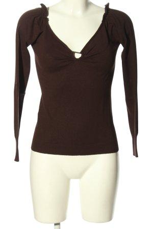 Stefanel V-Ausschnitt-Pullover braun Casual-Look