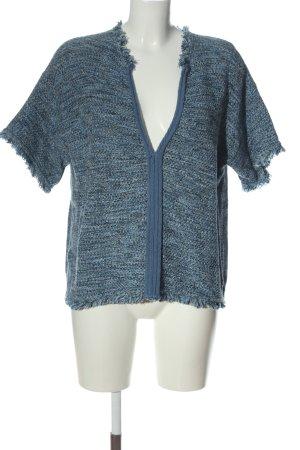 Stefanel V-Ausschnitt-Pullover blau Webmuster Casual-Look