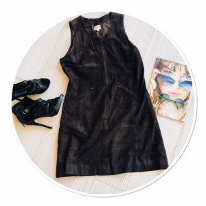 Stefanel Vestido de cuero marrón oscuro Gamuza