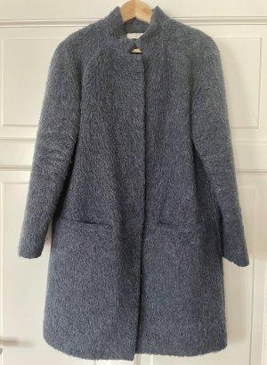 Stefanel Wełniany płaszcz ciemnoniebieski